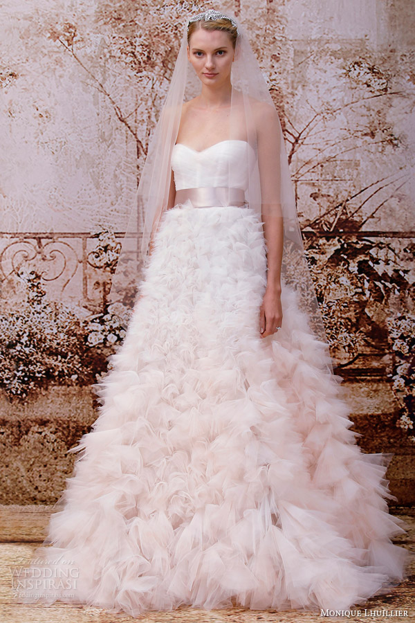 monique lhuillier color wedding dress fall 2014 reese ombre rose strapless wedding dress