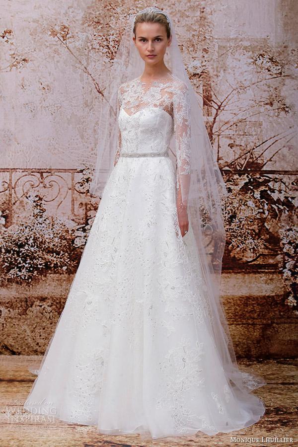monique lhuillier fall 2014 bridal portrait illusion long sleeves wedding dress