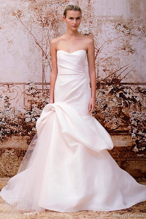 monique lhuillier pink wedding dress fall 2014 madison silk gazar strapless gown tufted skirt