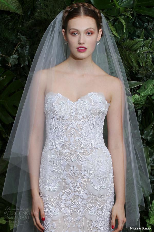 naeem khan bridal fall 2014 rio strapless sweetheart wedding dress close up