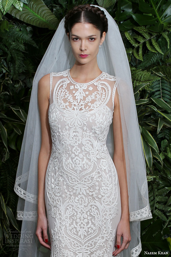 naeem khan bridal fall winter 2014 2015 valencia embroidered strapless wedding dress close up