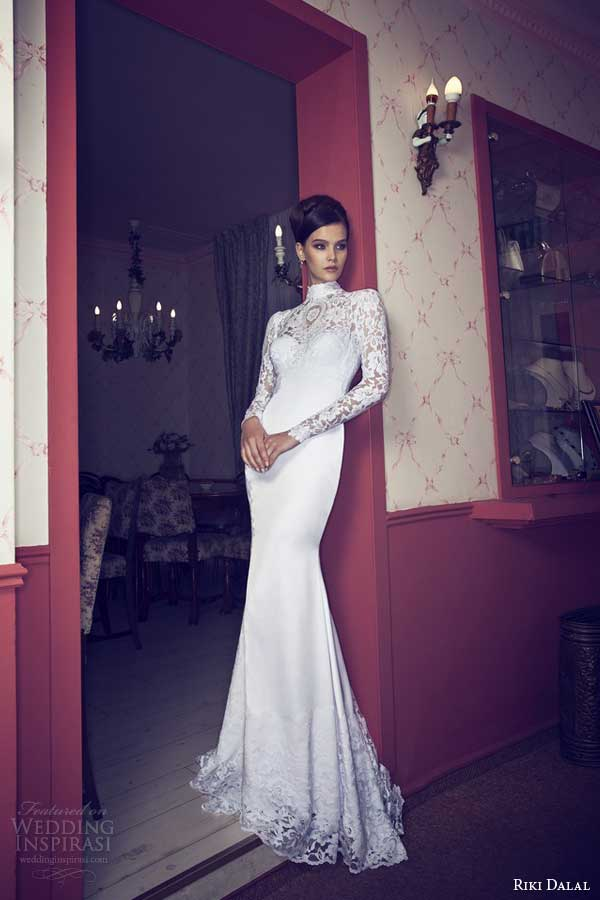 riki dalal 2014 long sleeve wedding dress with high neckline and keyhole back