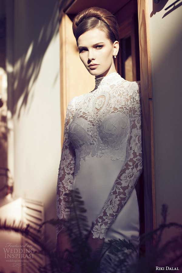 riki dalal 2014 long sleeve wedding dress with high neckline keyhole back close up