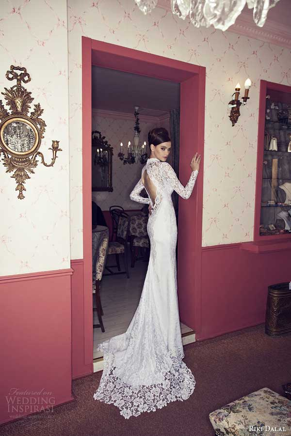 riki dalal 2014 long sleeve wedding dress with keyhole back