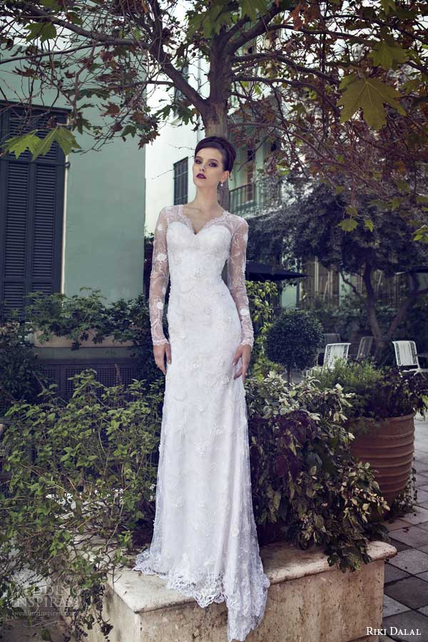riki dalal bridal 2014 long sleeve weddingdress v neck full view