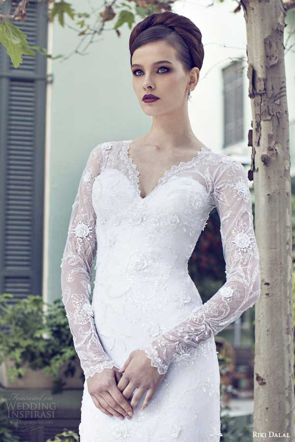 riki dalal bridal 2014 long sleeve weddingdress v neck