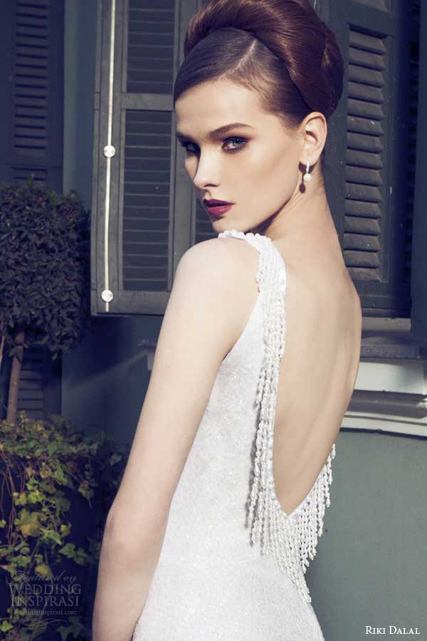 riki dalal bridal 2014 sleeveless sheath wedding dress back view close up