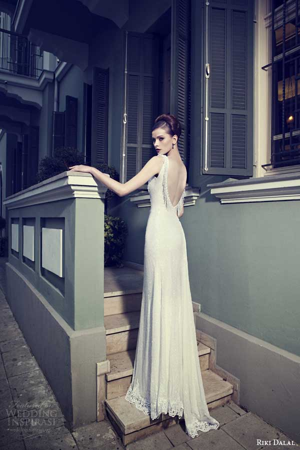 riki dalal bridal 2014 sleeveless sheath wedding dress back view
