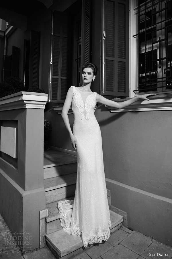 riki dalal bridal 2014 sleeveless sheath wedding dress