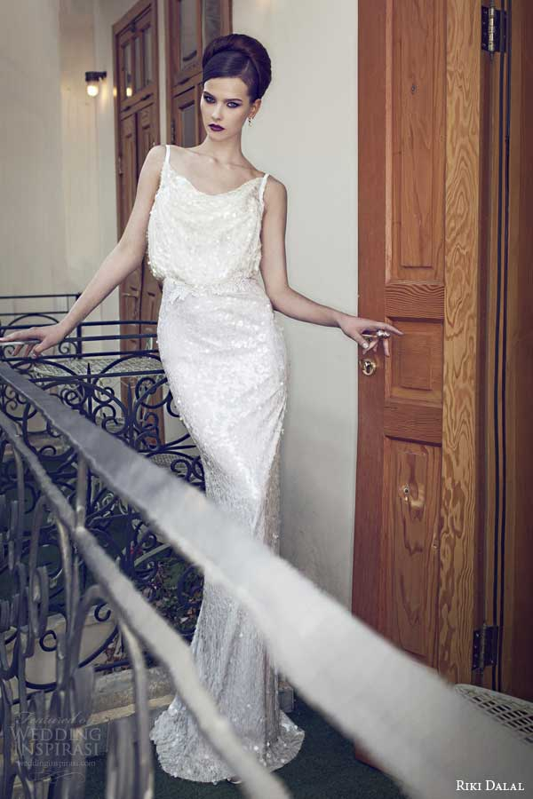 riki dalal wedding dresses 2014 blouson sheath gown straps