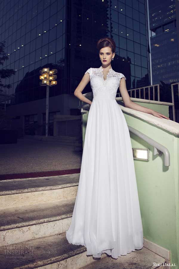 riki dalal wedding dresses 2014 cap sleeve gown v neck