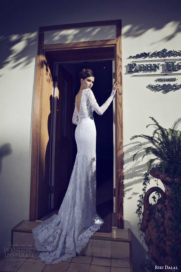 riki dalal wedding dresses 2014 long sleeve sheath gown back detail