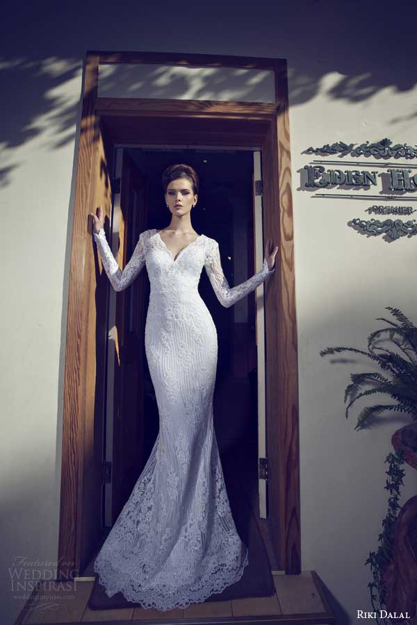 riki dalal wedding dresses 2014 long sleeve sheath gown