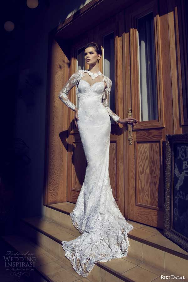 riki dalal wedding dresses 2014 sheath gown long sleeves