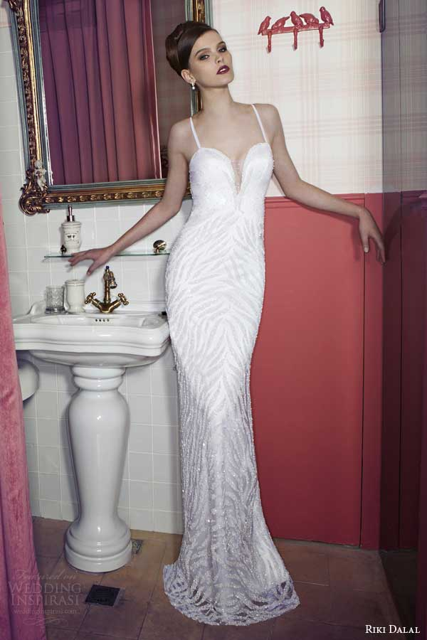 riki dalal wedding dresses 2014 sheath gown straps