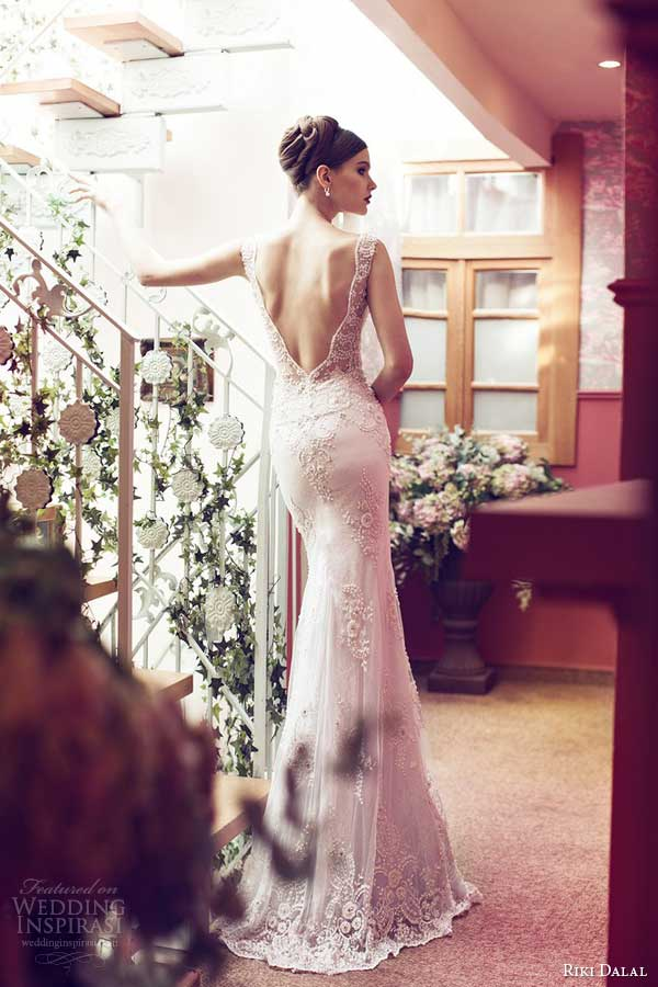 riki dalal wedding dresses 2014 sleeveless lace gown back detail