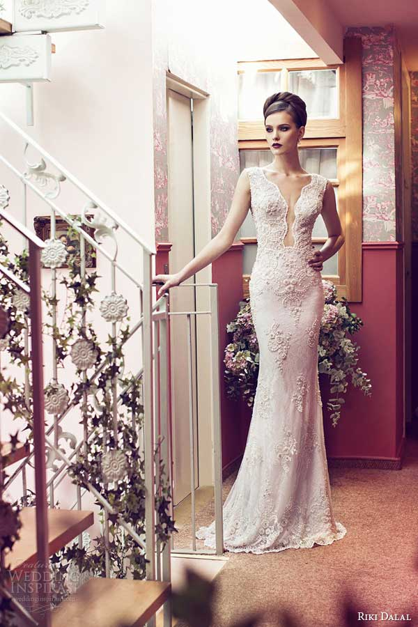 riki dalal wedding dresses 2014 sleeveless lace gown