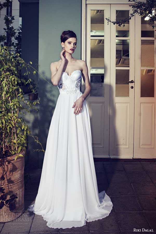 riki dalal wedding dresses 2014 strapless gown lace bodice sweetheart
