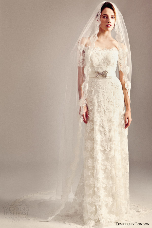 temperley bridal fall 2014 iris collection sienna lace wedding dress with veil