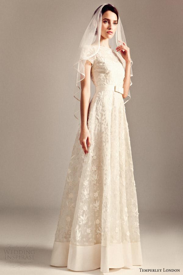 temperley bridal fall 2014 iris dawn short sleeve wedding dress