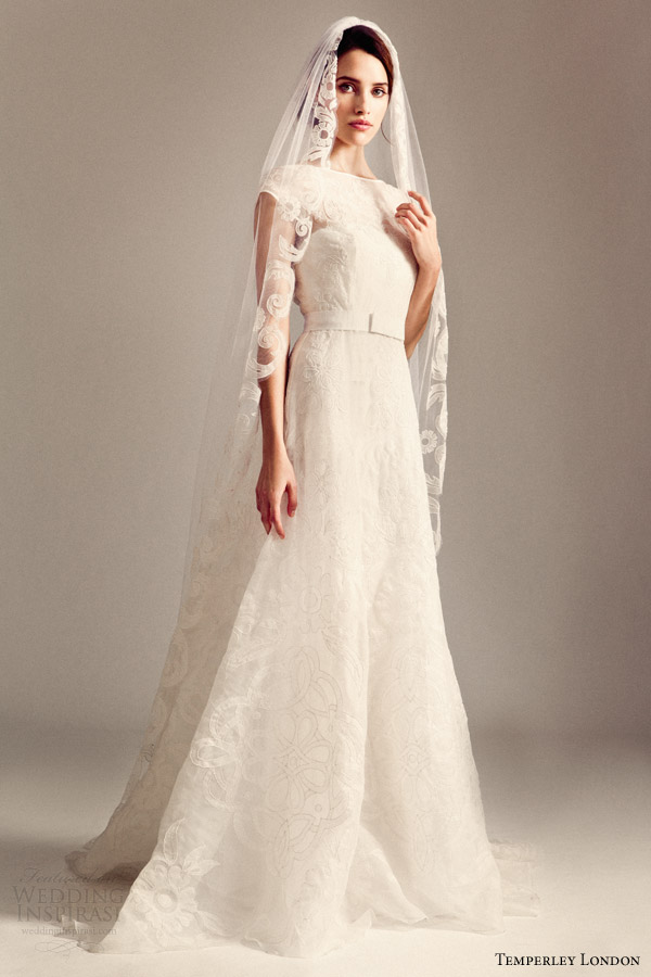 temperley bridal fall 2014 iris valerie wedding dress with veil
