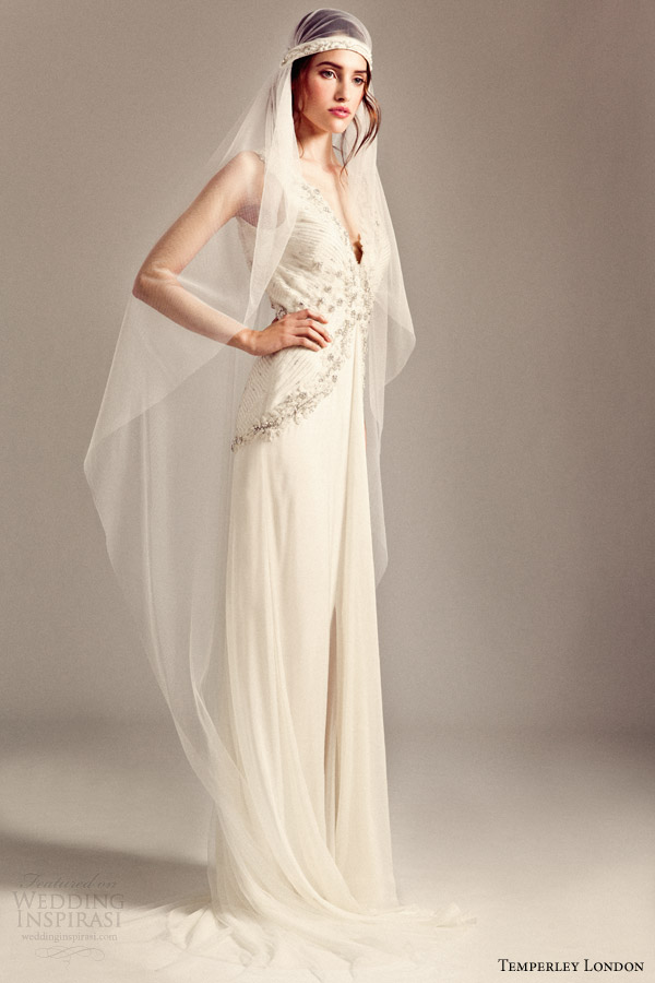 temperley london bridal 2014 iris romily sleeveless wedding dress gatsby crystal veil