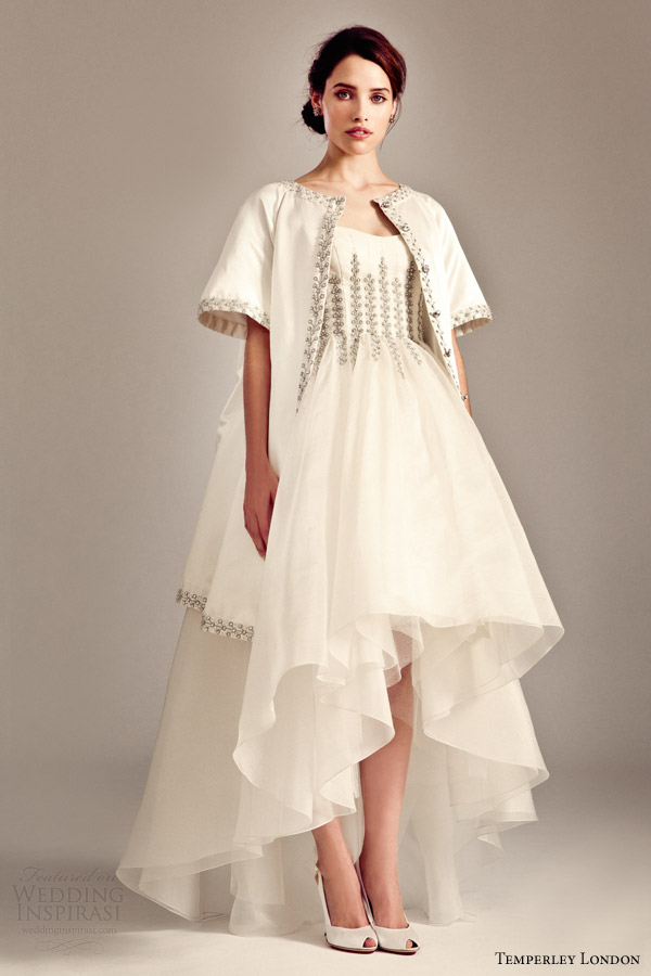 temperley london bridal fall 2014 2015 iris aralia short to long wedding dress evening coat