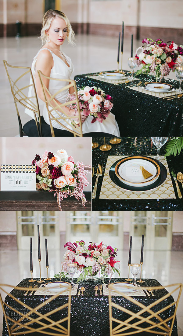 art deco themed wedding shoot featuring enzoani harmony gown