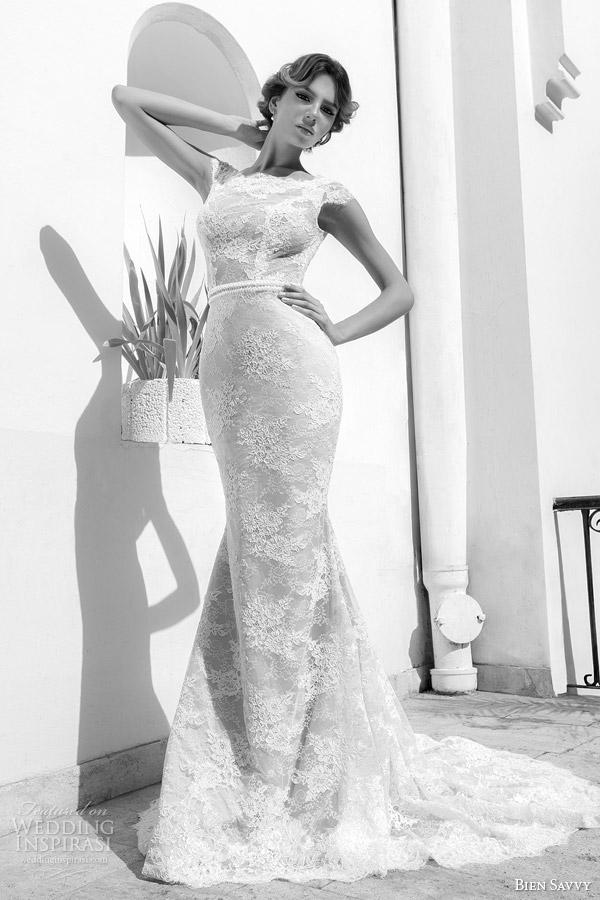 bien savvy beautiful wedding dress 2014 olivia lace sheath gown cap sleeves