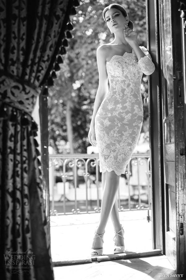 bien savvy bridal 2014 short lace wedding dress carla