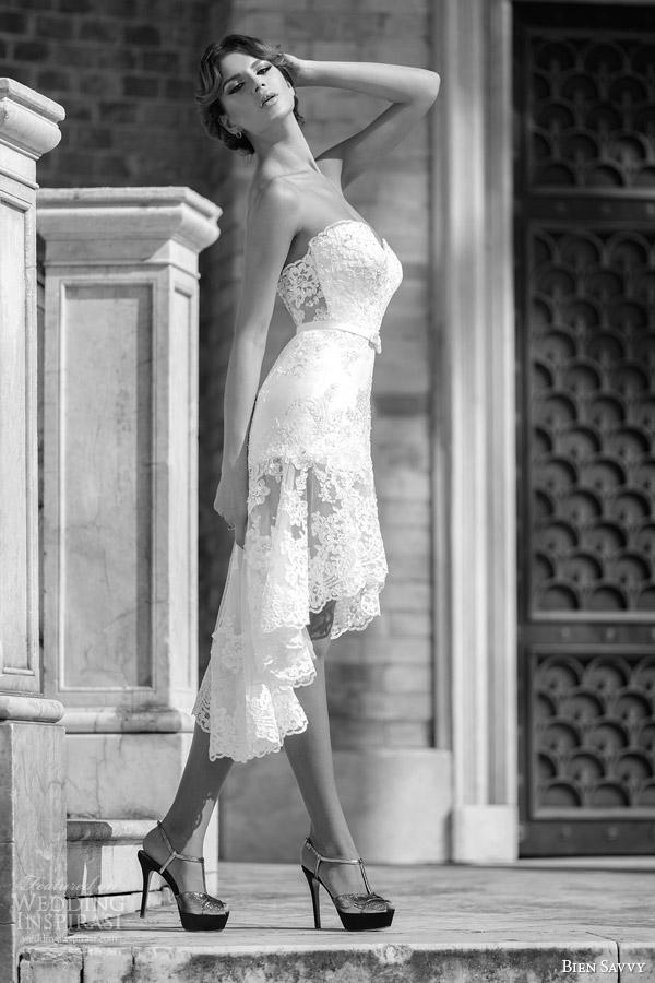 bien savvy bridal spring 2014 one love juliet short long lace wedding dress