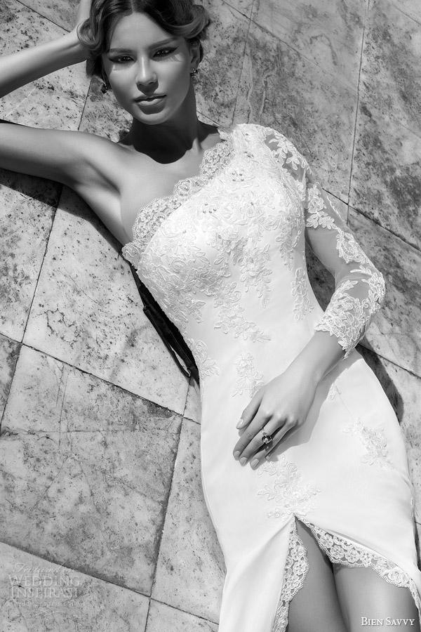 bien savvy bridal spring 2014 romanian one shoulder long sleeve wedding dress vivienne