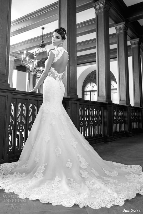 bien savvy bridal spring 2014 scarlet cap sleeve wedding dress keyhole back