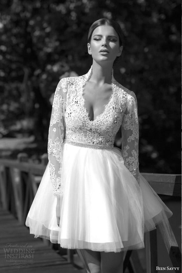 bien savvy one love bridal spring 2014 marylin short wedding dress long sleeves lace