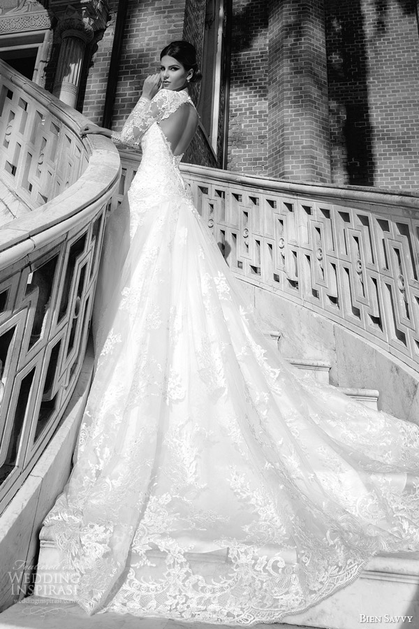 bien savvy wedding dress spring 2014 bridal maria long sleeve lace gown keyhole back