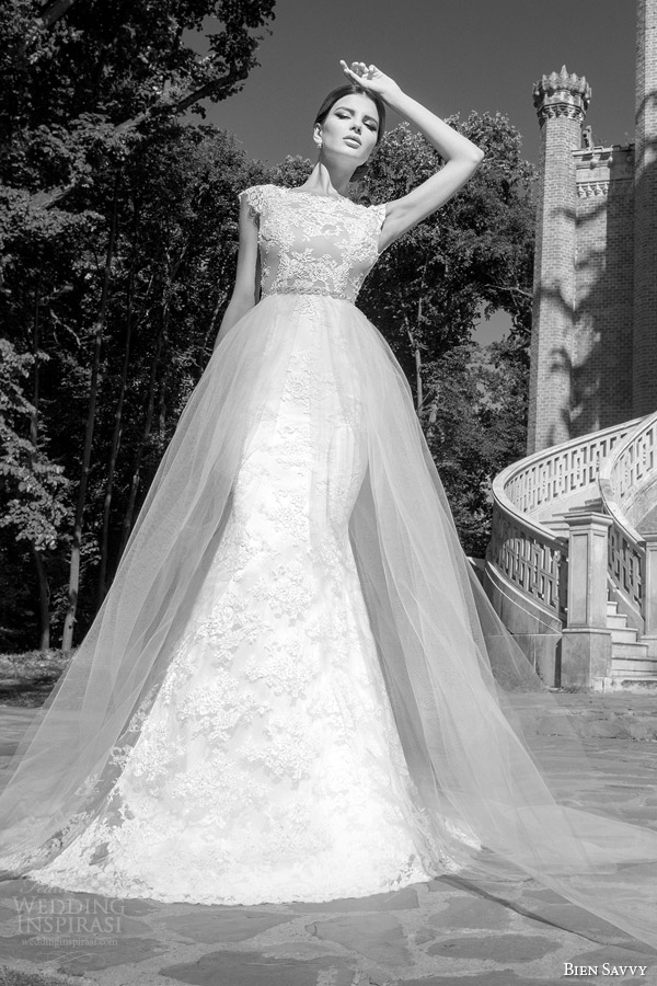 bien savvy wedding dresses 2014 catherine lace gown tulle over skirt
