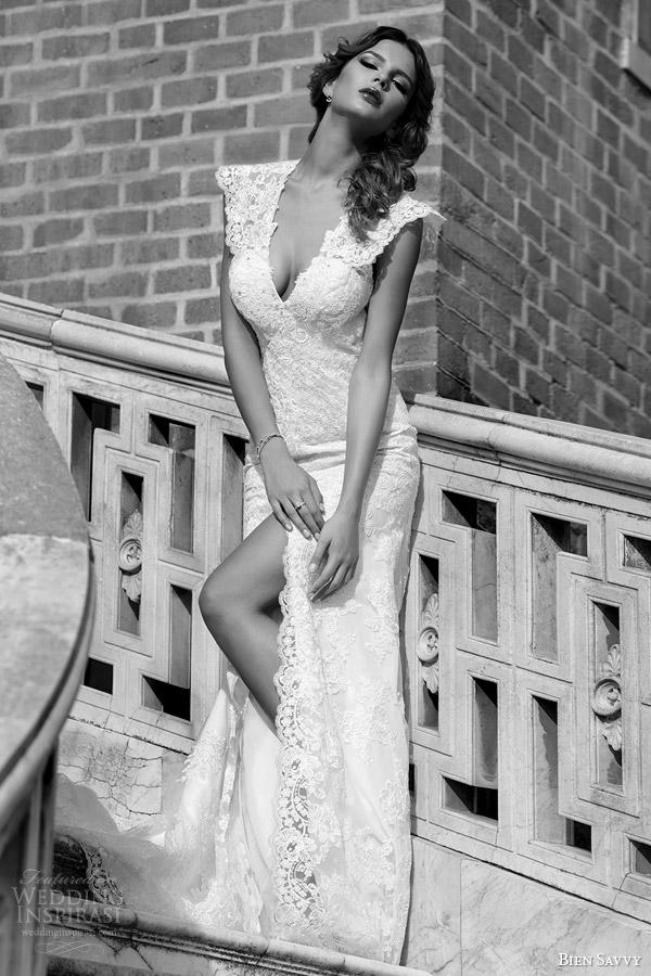 bien savvy wedding dresses 2014 christine lace gown cap sleeves
