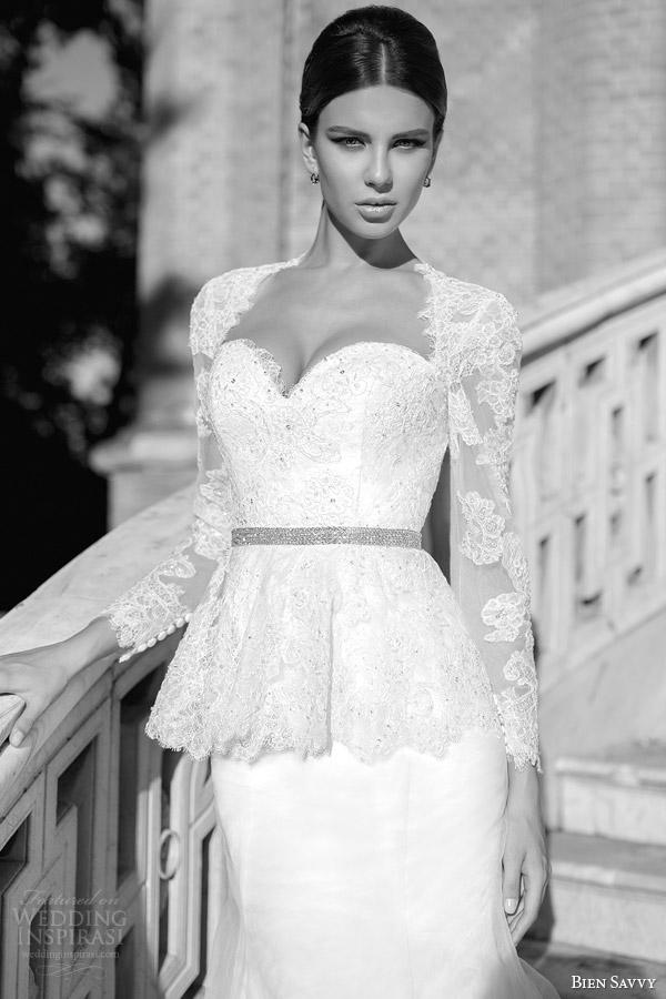 bien savvy wedding dresses spring 2014 isabel long sleeve peplum gown