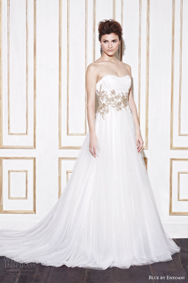 blue by enzoani bridal 2014 gabes wedding dress gold accents