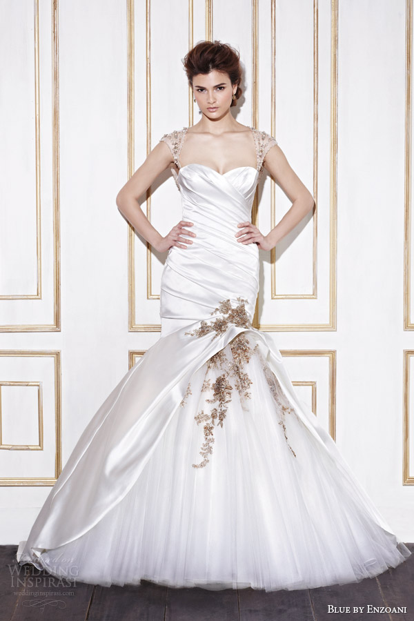 blue by enzoani bridal 2014 gainesville wedding dress with gold accents