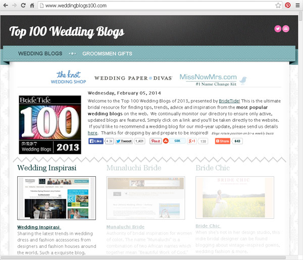 bridetide top 100 most popular wedding blogs on the internet wedding inspirasi 600