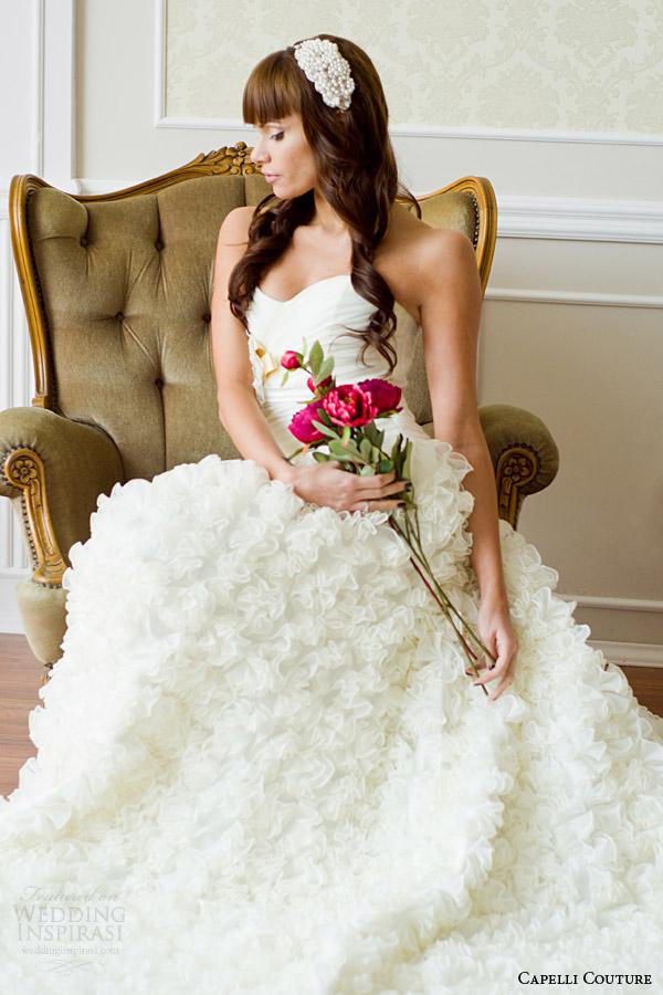 capelli costura 2014 strapless casamento vestido de babados sentados tiro
