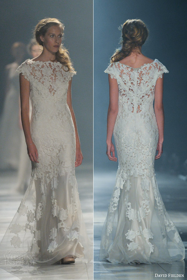 David Fielden Wedding Dresses 2017 Lace Cap Sleeve Gown Style 8058