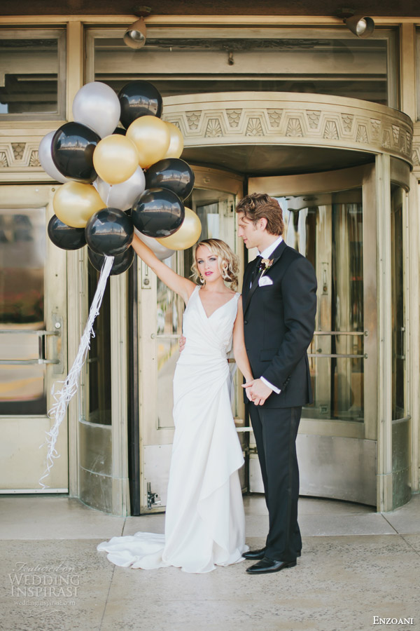 enzoani 2013 harmony wedding dress black gold art deco themed photo shoot