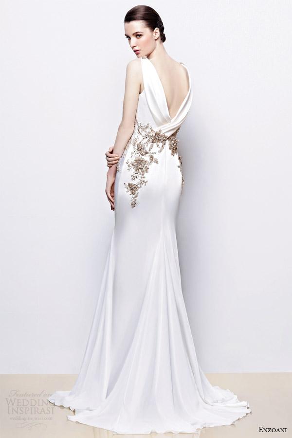 enzoani bridal 2014 inara wedding dress antique gold accents back