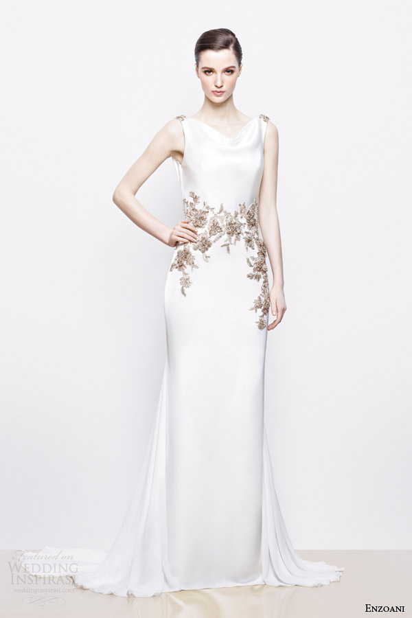 enzoani bridal 2014 inara wedding dress antique gold accents