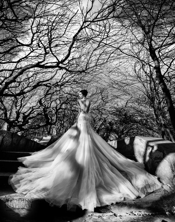 galia Lahav 2014 verdadeira noiva sessão de fotos árvores brancas pretas