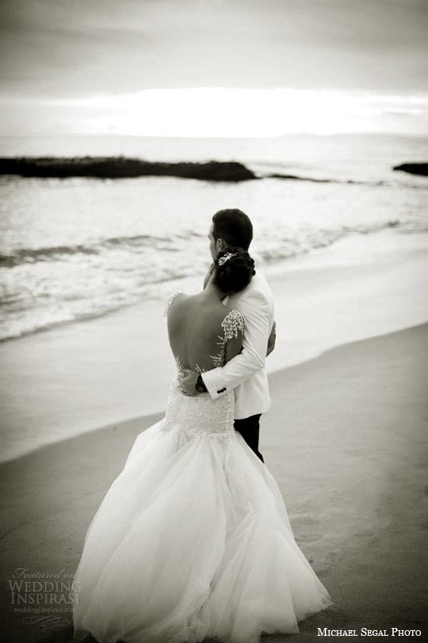 Galia vestidos de noiva Lahav 2014 noivas reais preto e branco sessão de fotos de praia