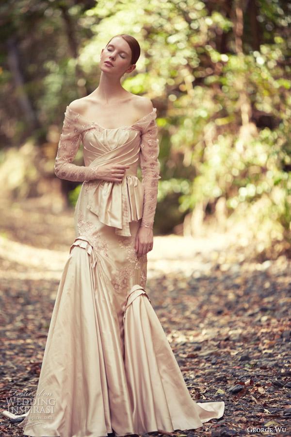 george wu bridal 2014 assyria long sleeve off shoulder color wedding dress