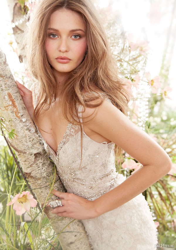 jim hjelm bridal spring 2014 sleeveless trumpet gown crystal bodice style jh8414 close up